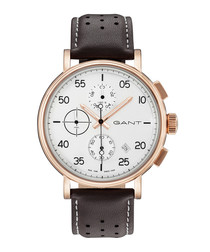 Gold-tone & dark brown leather chronograph watch
