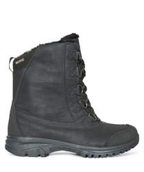 Men's black faux fur-lined ski boots