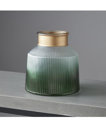 Verde large green glass candle holder