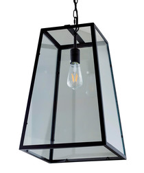Metal & glass trapeze hanging light
