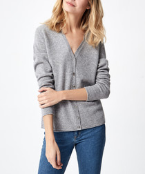 Light grey pure cashmere cardigan