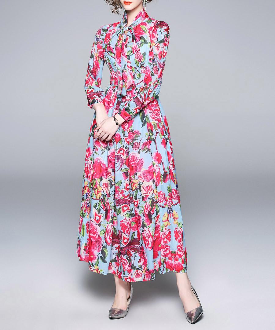 Blue & pink rose print maxi dress Sale - Kaimilan