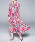 Blue & pink rose print maxi dress Sale - Kaimilan Sale
