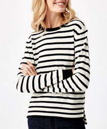 Black stripe pure cashmere jumper