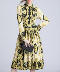 Yellow regal print collar midi dress