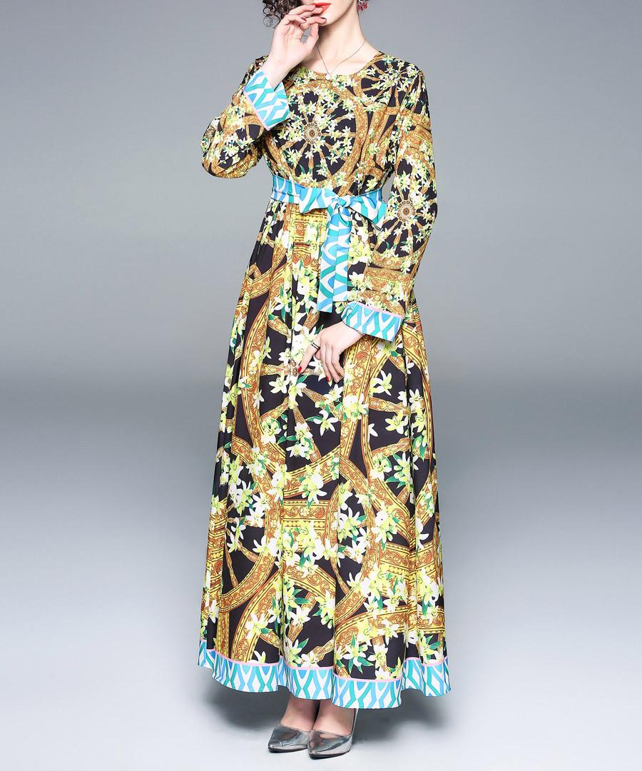 Black & turquoise wheel print maxi dress Sale - kaimilan
