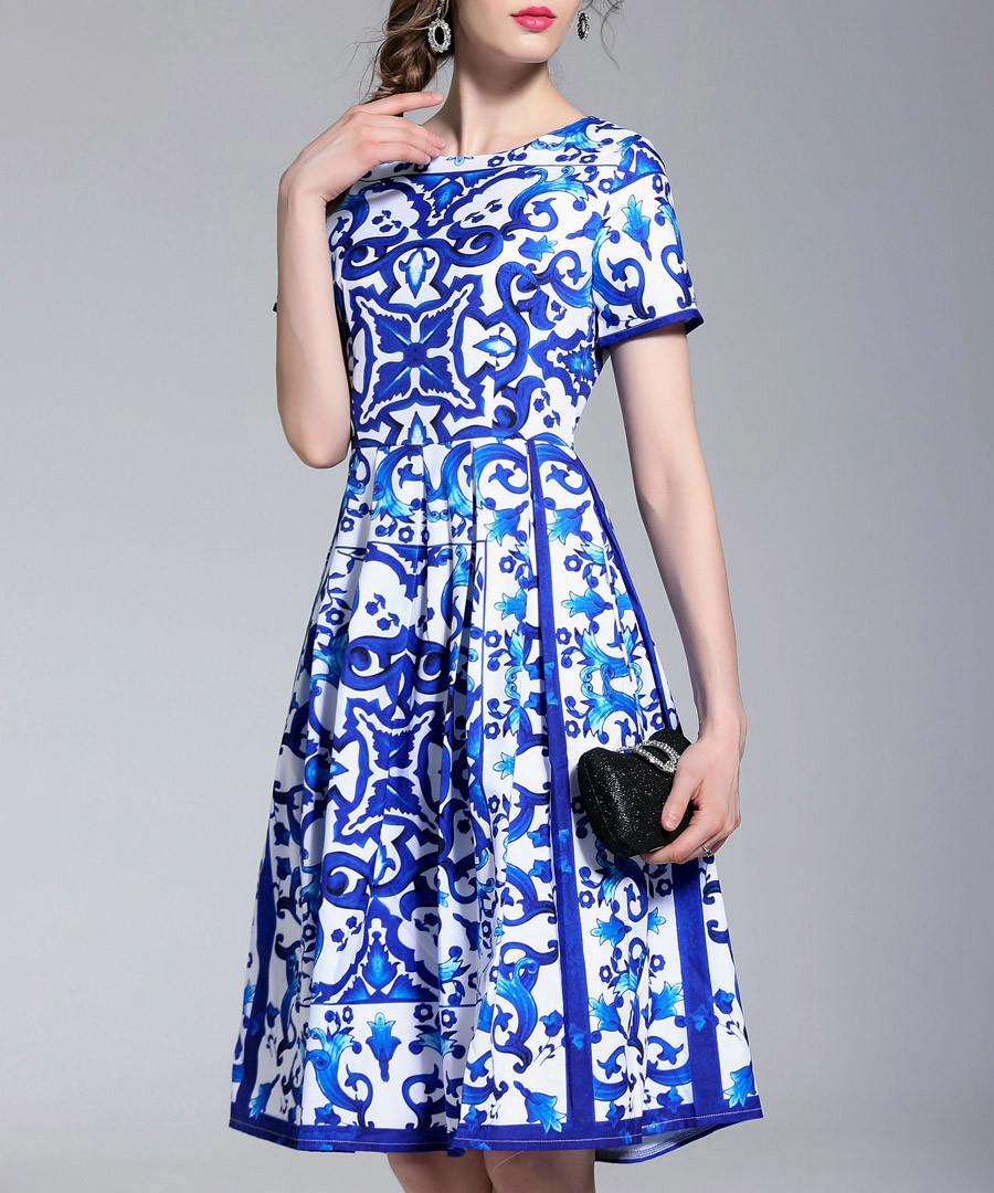 Blue & white Morris tile dress Sale - Kaimilan