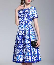 Blue & white Morris tile dress
