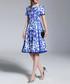 Blue & white Morris tile dress Sale - Kaimilan Sale