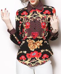 Multi-colour poppy long sleeve shirt