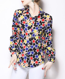 Multi-coloured print long sleeve shirt