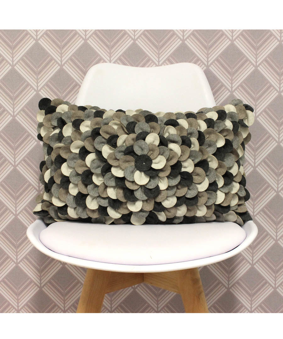 Petals grey wool-blend cushion 50cm Sale - riva paoletti