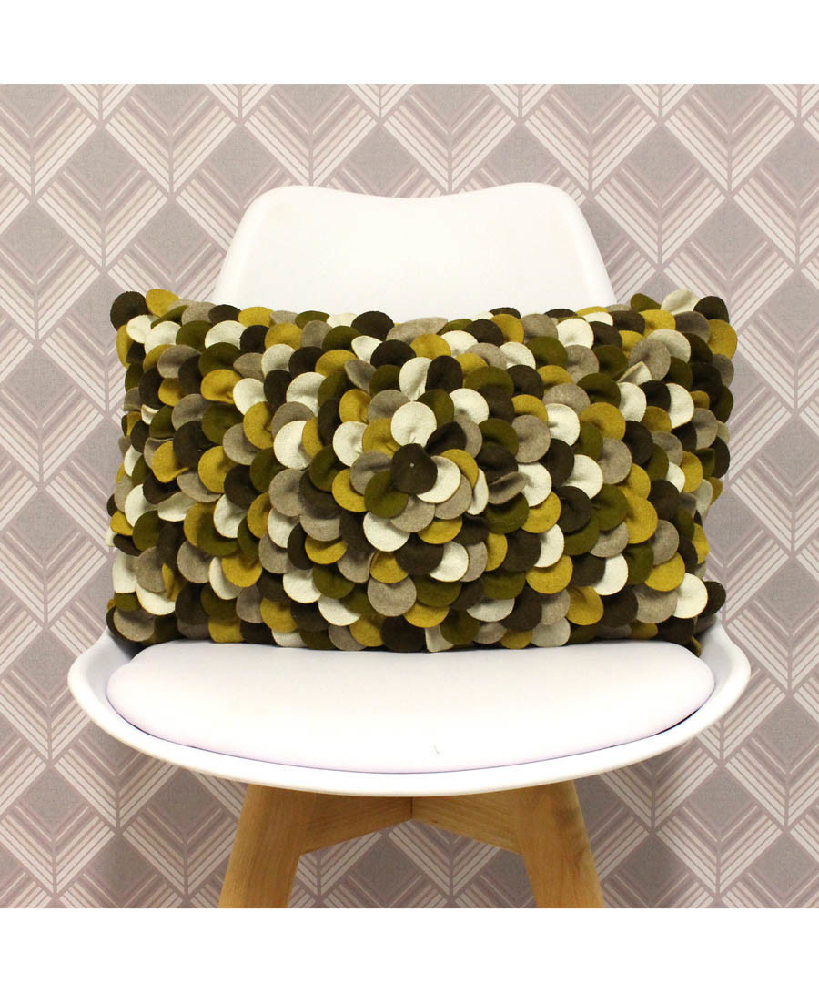 Petals khaki wool-blend cushion 50cm Sale - riva paoletti