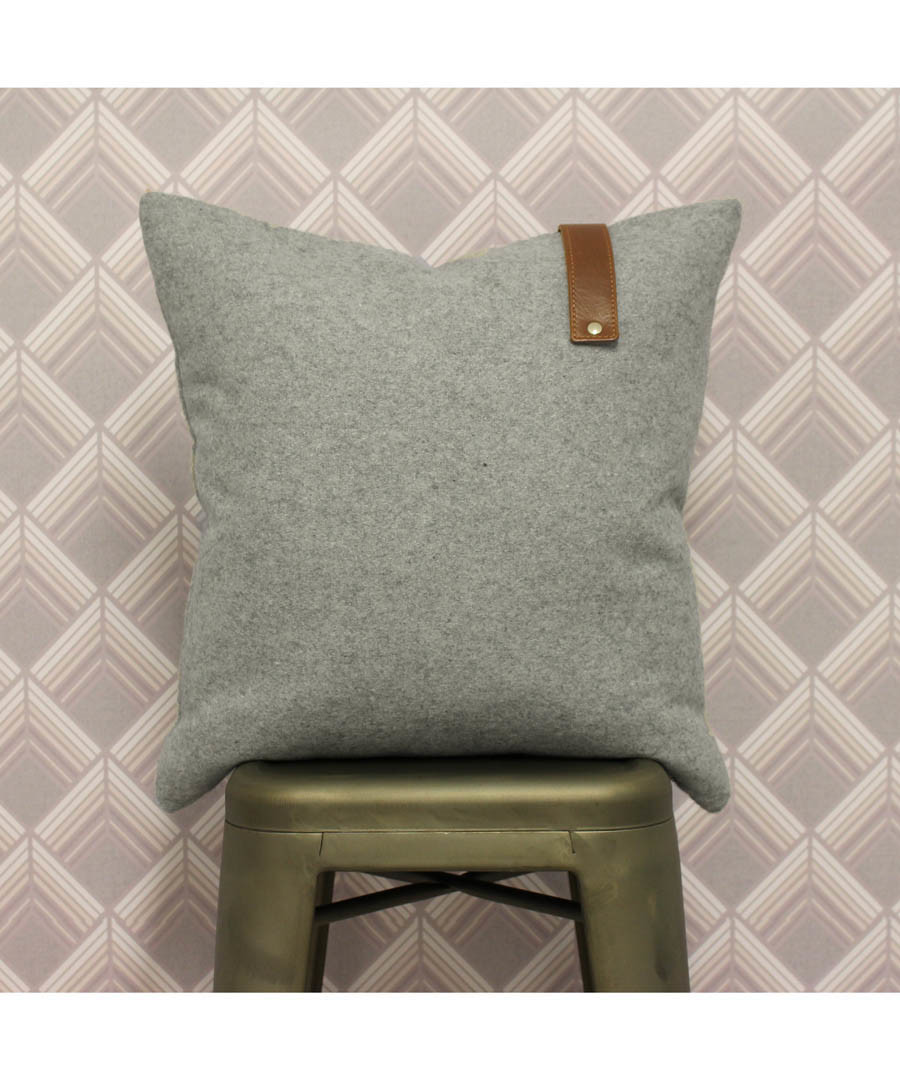 Hoxton grey wool-blend cushion 45cm Sale - riva paoletti