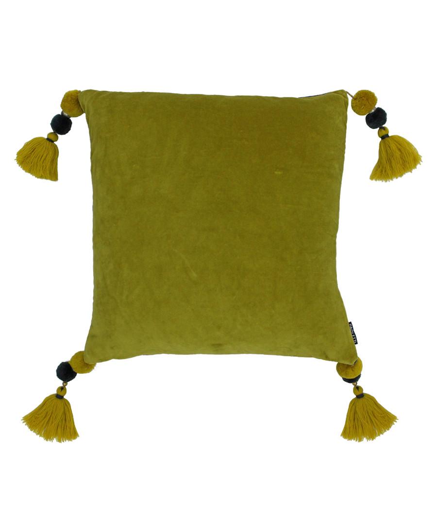 Poonam olive tassel cushion 45cm Sale - riva paoletti