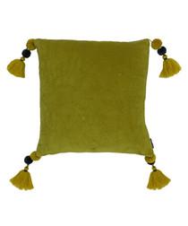 Poonam olive tassel cushion 45cm