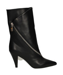 Black leather zip pump boots