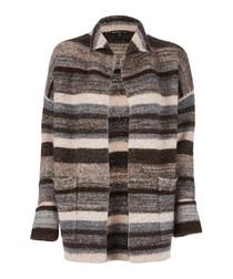 Ombre merino wool blend striped cardigan