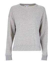 Heather grey pure cotton knit jumper
