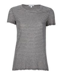 Grey & black cotton striped T-shirt
