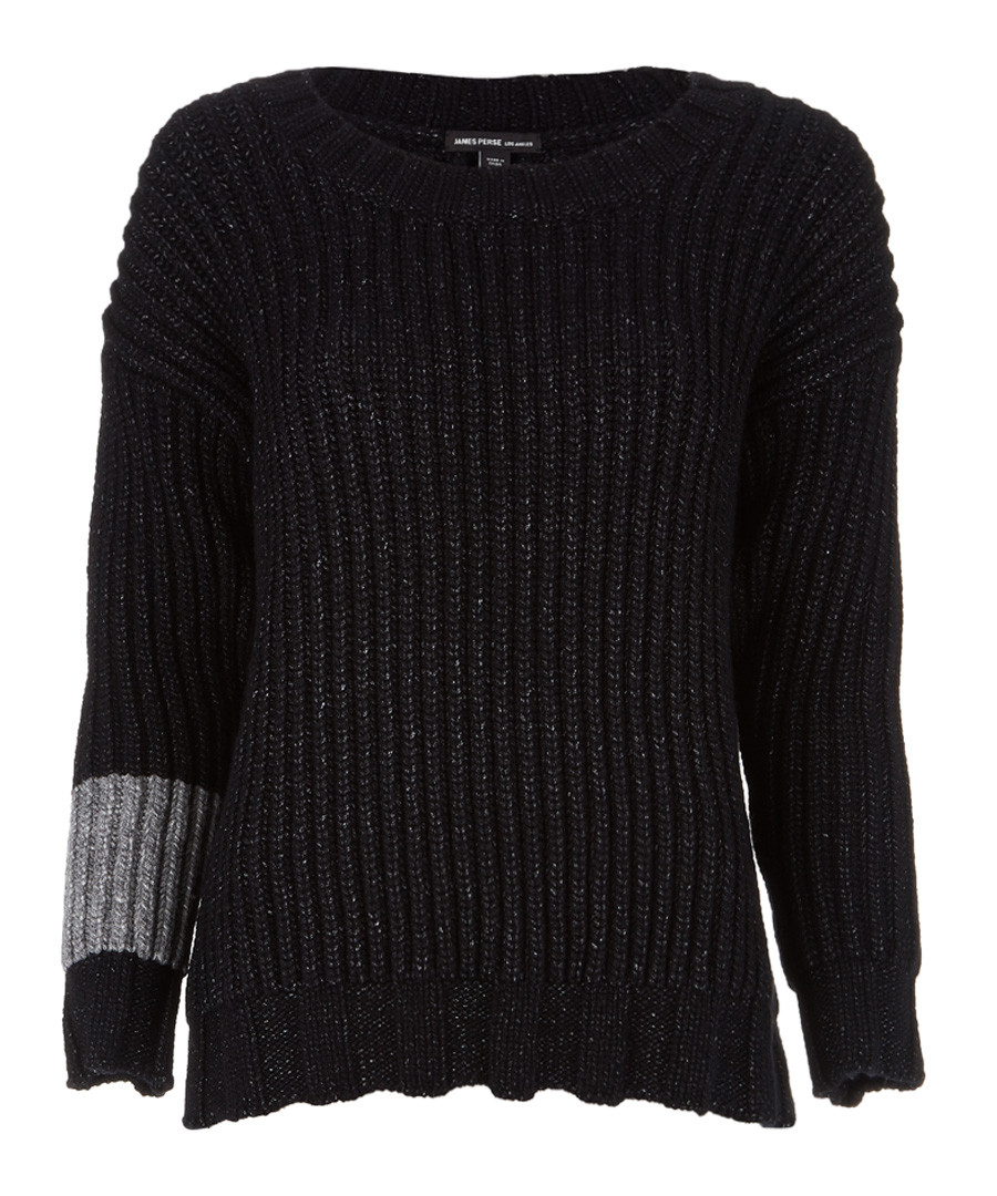 Black & grey merino blend jumper Sale - James Perse