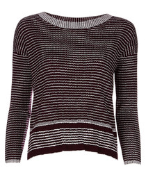Wine wool blend striped jumper