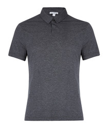 Anthracite cotton blend polo shirt