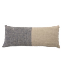 Navy & beige linen pillowcase 110cm