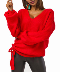 Red wool blend ruched knit jumper