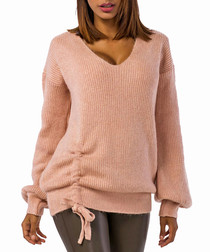 Pale pink wool blend ruched knit jumper