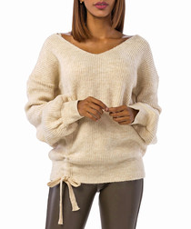 Stone wool blend ruched knit jumper