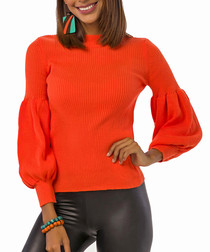 Orange wool blend bell sleeve jumper