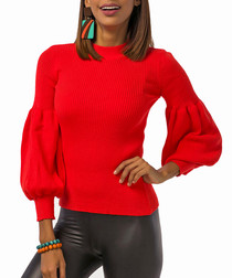 Red wool blend bell sleeve jumper