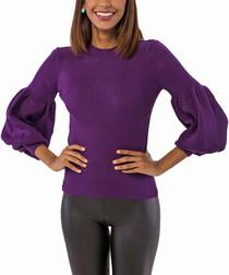 Purple wool blend bell sleeve jumper
