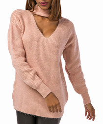 Pale pink wool blend choker jumper