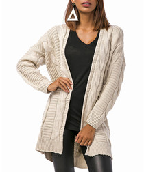 Beige wool blend cable knit cardigan