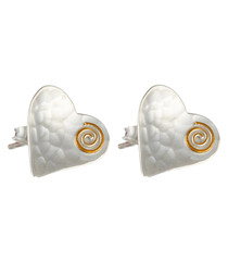Sterling silver & gold wire heart studs