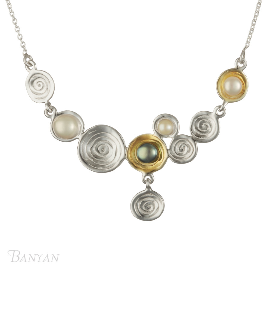 Gold-plate & pearl necklace necklace Sale - banyan