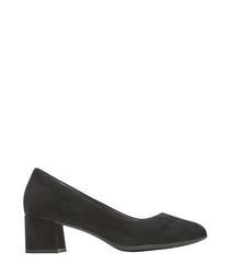 Black suede block heels