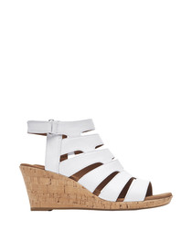 White leather strappy wedge heels