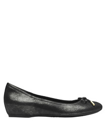 Onyx pearl leather ballet pumps