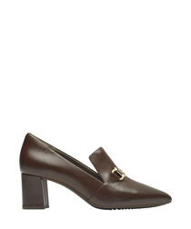Cappuccino leather heeled loafers