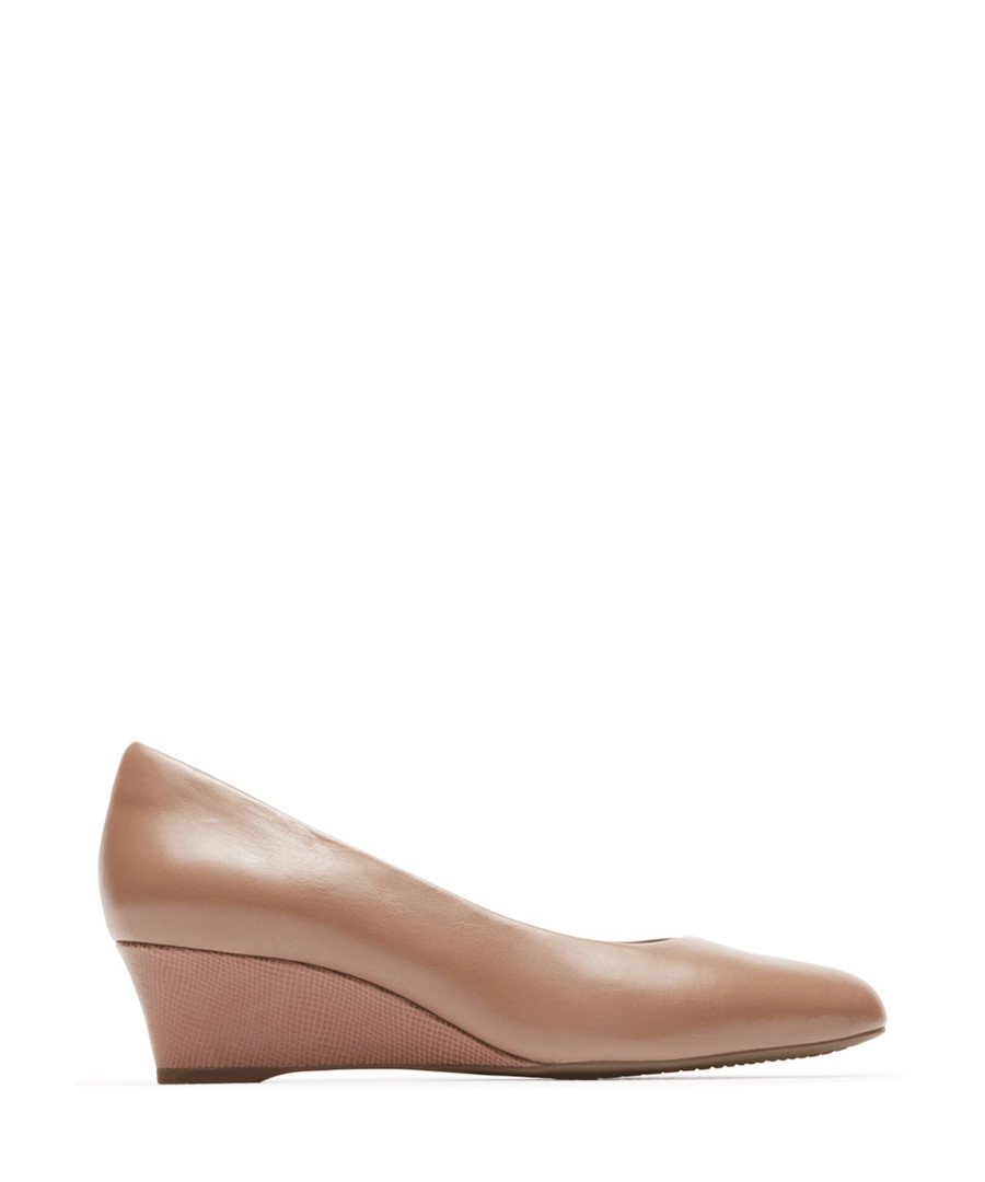 Taupe leather wedge heels Sale - rockport