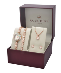 4pc rose gold-tone steel jewellery set