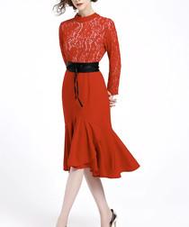 Red lace belt tie dress
