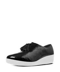 Superoxford black patent tassel sneakers