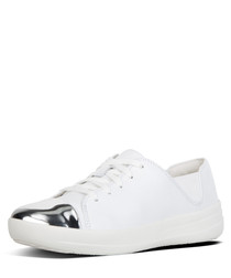 F-sporty white leather mirror sneakers
