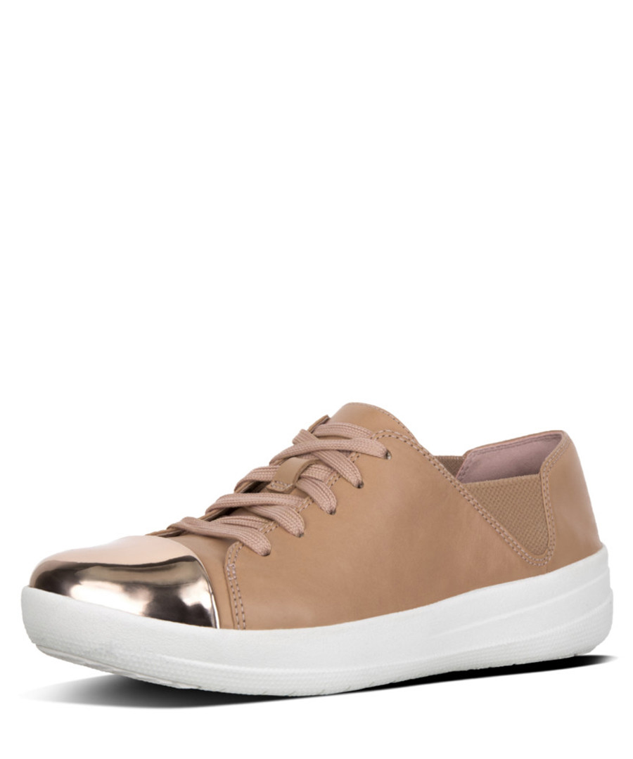 F-sporty taupe leather mirror sneakers Sale - fitflop