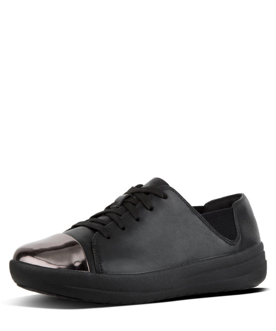 F-sporty black leather mirror sneakers Sale - fitflop