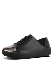 F-sporty black leather mirror sneakers